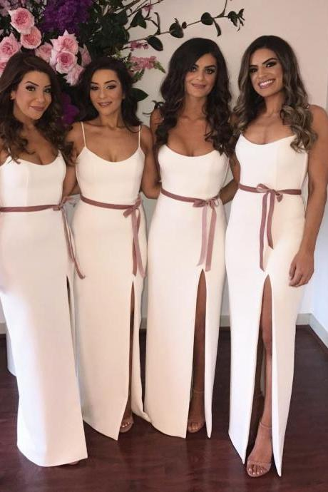 Long Sheath Bridesmaid Dress , Prom Dress with Slit and Sash,New Arrival White Long Bridesmaids Dresses.Plus Size Women Party Gowns
