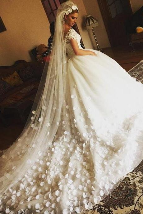 Luxury Lace Bodice Flower Ball Gown Tulle Wedding Dress with Cap Sleeves 2018 Plus Size White Wedding Dresses Tulle Hand Made Flowers Sweep Train Puffy Bridal Gowns