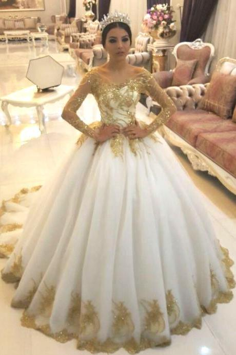Gold Lace Appliques White Tulle Long Sleeves Bridal Ball Gown Wedding Dresses 2018 Luxury Gold Beaded Arabic Wedding Gowns Plus Size Country Bridal Gowns Girls Gowns
