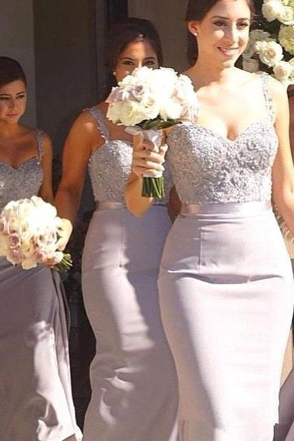Classic Mermaid Bridesmaid Dresses 2018 Elegant Light Gray Long Bridesmaid Gowns with Straps Lace Appliques Beaded Maid of Honor Dress for Weddings Formal Party Gowns