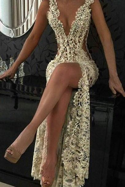 Custom Charming Beading Lace Prom Dress,Sexy Deep V-Neck Evening Dress,Sexy See Through Backless Prom Dress,2018 High Split Long Evening Dress, Arabic Gowns