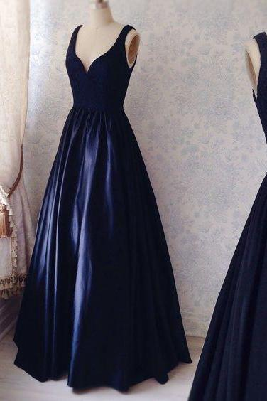 Prom Dress,2018 Custom Made Charming Navy Simple Prom Dresses, Satin Prom Dress, Sexy V-neck Prom Gown, Elegant Lace Prom Dress, prom Gowns Plus Size, Cocktail Dresses, formal dresses,Wedding guests dresses