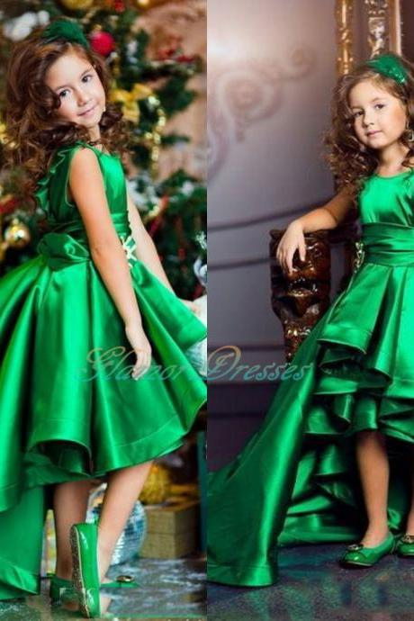 Emerald Green Girls Pageant Dresses High Low Princess Flower Girls Dresses For Weddings Lovely Kids 2018 Communion Dresses Custom Made Satin Flower Girls Wedding
