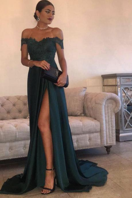 2018 New Arrival Evening Dress Party A-Line Hunter Green High Split Side Slit Lace Top Sexy Off Shoulder Prom Dress Plus Size Long Party Gowns ,Sexy Arabic Evening Gowns