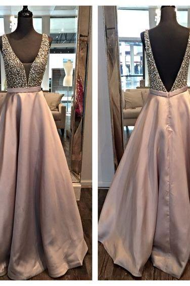 2018 Luxury Beaded Long Prom Dresses Backless Women Party Gowns Plus Size V Neck Formal Evening Dresses High Quality Arabic Dubai Prom Gowns