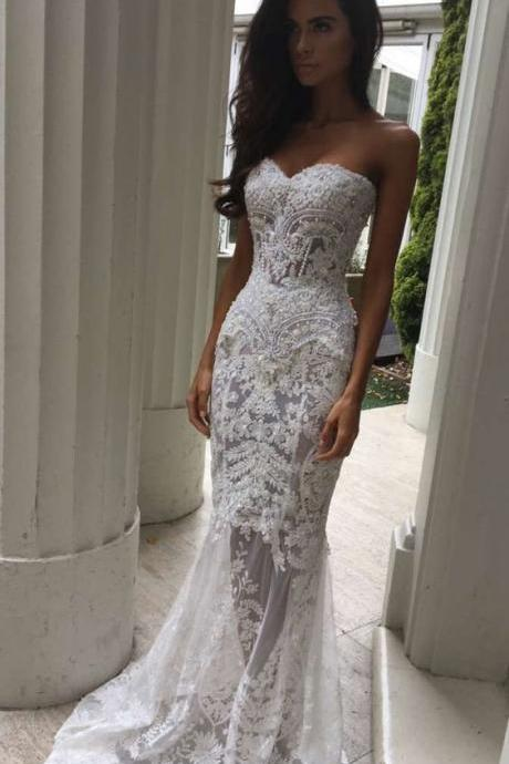 Charming White Lace Wedding Dress,Sexy Sweetheart Bridal Dress,Sexy See Through Wedding Dress,Mermaid Wedding Gowns 2018, Beaded Bridal Gowns ,Plus Size Bride Dress
