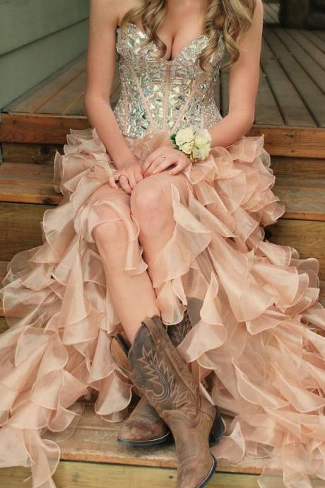Custom Made High Low Prom Dresses, Evening Dresses, Party Dresses, Formal Dresses,2018 Plus Size Prom Gowns ,Crystal Formal Party Gowns ,Off Shoulder Long Homecoing Dress