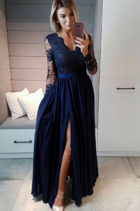 Prom Dress Royal Blue Chiffon Formal Occasion Dress Prom Dress 2018 Long Sleeve Lace Evening Dress A Line Women Party Gowns Plus Size High Split Formal Gowns