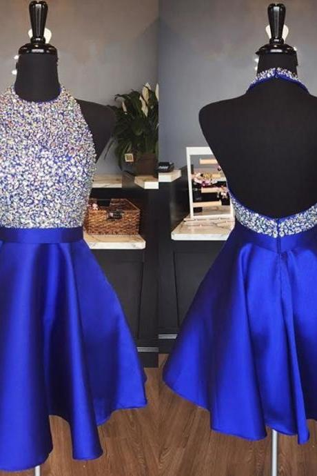 halter homecoming dress,beaded prom gowns,short prom dress 2018,royal blue cocktail dresses, Short Homecoming Gowns , Sexy Backless Graduation Dress, Mini Party Gowns
