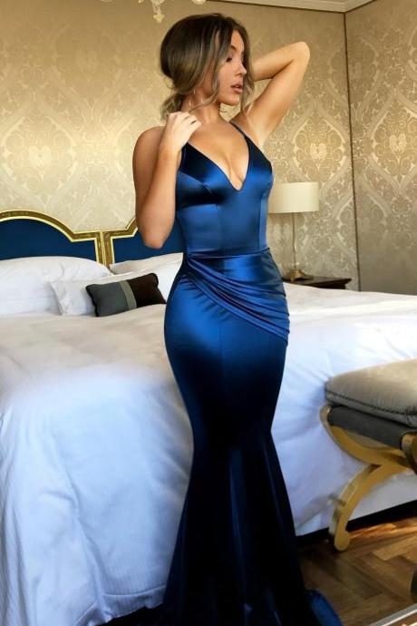 2018 New Arrival Royal Blue Skirt Mermaid Prom Dresses Sexy Backless Prom Gowns Custom Made Long Arabic Evening Dresses Plus Size Women Pageant Gowns
