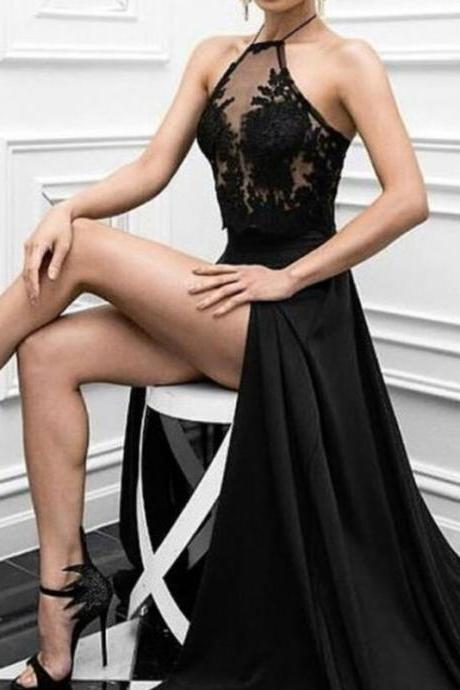 Black Prom Dresses 2018, Charming Prom Dress, Long Formal Evening Dresses exy Prom Dresses,Sexy Women Party Gowns ,Side Split Long Pageant Gowns .Wedding Clothing Dress