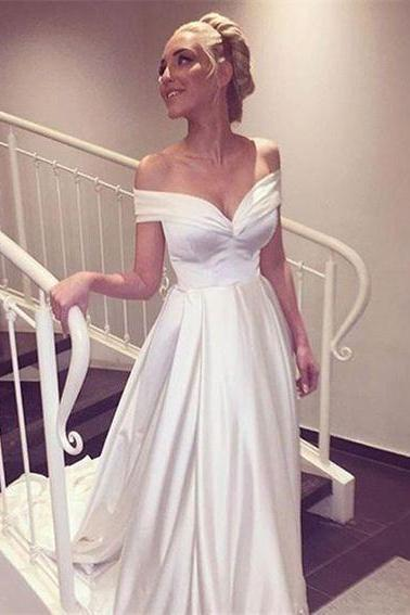 2018 Off Shoulder Wedding Dresses, White Satin Wedding Dress, Sample Bridal Gowns , Ruffle Bride Dress, China Wedding Gowns , Puffy Weddings