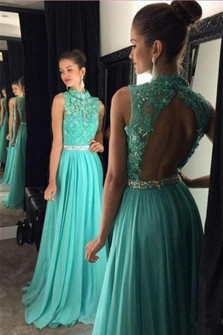 2018 New Style Prom Dress,A Line Prom Dress,High Neck Open Back Prom,Long Prom Dress,Appliques Beading Prom Evening Dress,Prom Dress Evening Gowns