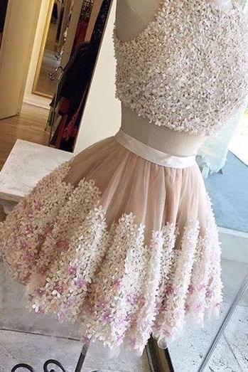 Cute champagne tull flower lace appliques short prom dress, two pieces party dress,2018 Wedding Party Dresses, Mini Women Cocktail Gowns