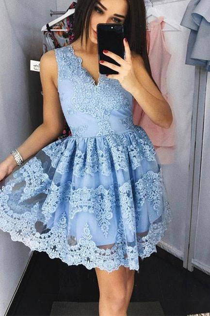 Off Shoulder Blue Lace Homecoming Dress 2018 New Arrival V Neck Short Prom Dress Little Girls Wedding Clothing Strapless Formal Gowns