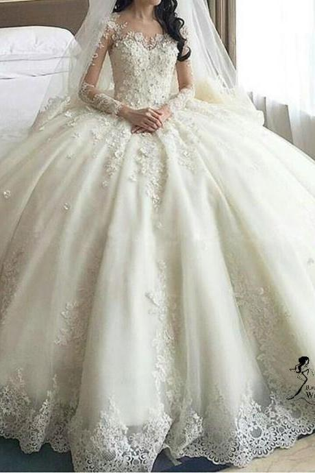 Luxury wedding dresses,Women's Long Sleeve Lace wedding dresses,Ball Gown Wedding Dresses Cathedral Train,2018 Long Sleeve Lace Muslim Bridal Dresses