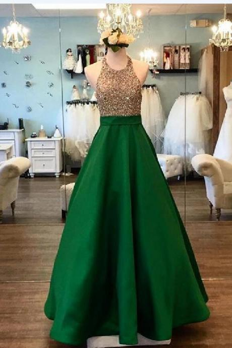 Halter Beaded Satin Prom Dress, Simple Prom Evening Dress, New Fashion Prom Dress,Formal Dress,Sexy Party Dress,Long Prom Dress,Prom Dress 2018,Charming Evening Dress