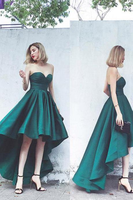 Short Homecoming Dress,Sweet Heart Homecoming Dress,High-Low Prom Dress,Satin Prom Dress,Wonderful Prom Dresses,Junior School Dress,2018 Short Prom Dresses Long Back Wedding Party Gowns