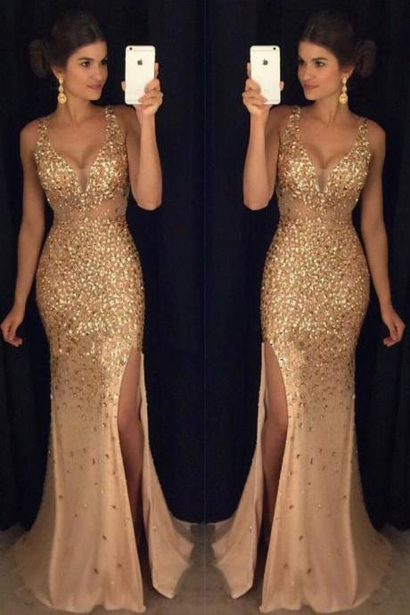 Beading Gold Long Prom Dress,Sexy Long Crystal Beaded Prom Dress With Slit, Mermaid Prom Dresses Evening Gown,2018 Sexy Wedding Party Dresses