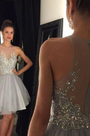 See-through Homecoming Dress with Sequins,Light Gray Sequined Homecoming Gown,A-line Sleeveless Tulle Short Prom Dress,Graduation Dress,2018 Short Cocktail Dress