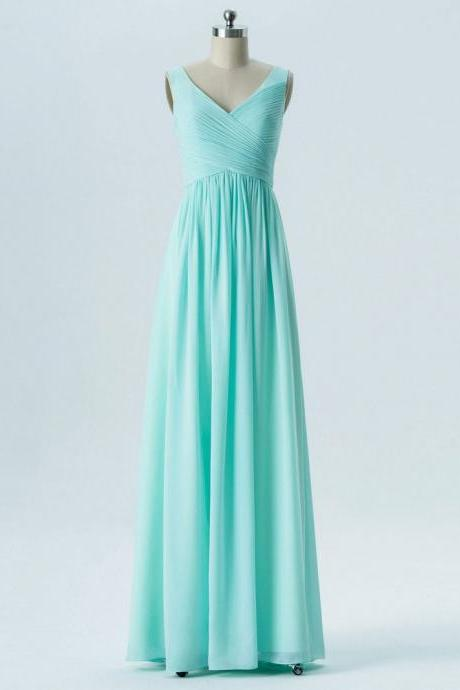 A-line V-neck Mint Pleat Chiffon Long Cheap Bridesmaid Dresses for Wedding Party 2018 Plus Size Ruffle Mini Green Girls Wedding Gowns