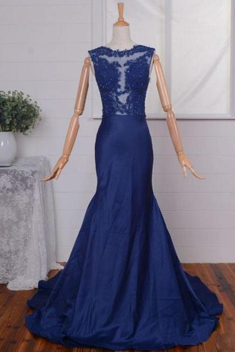 Navy Blue Mermaid Prom Gowns With Illusion Jewel Neckline, Floor Length Taffeta Lace Appliques Formal Dresses, Long Red Bridesmaid Dresses,Lace Mermaid Prom Dresses