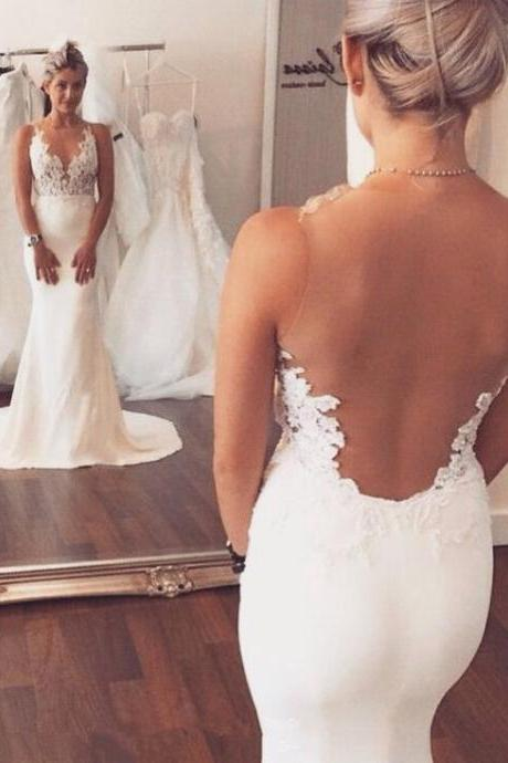 Charming Mermaid Wedding Dresses,Long See Through Wedding Dresses,Ivory Wedding Dresses,2018 Sheer Bridal Dress, Off Shoulder Summer Weddings