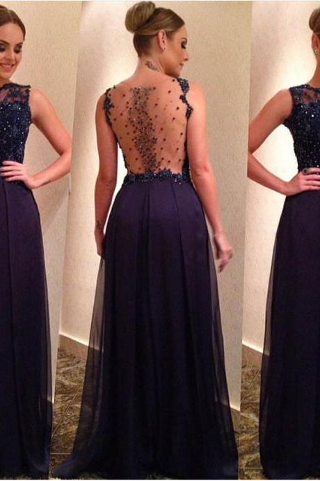 2018 Sexy Sheer Neck Long Prom Dresses Navy Blue Beaded Formal Dress Plus Size Satin Long Evening Dress Strapless Women Party Gowns