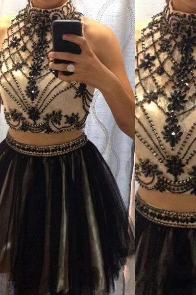 2018 Handmade Black Beading 2 Pieces Homecoming Dresses, Pretty Gowns, Black Tulle Mini Prom Dress, Short Wedding party Dress