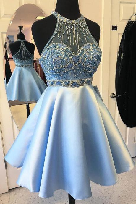 Halter High Neck Homecoming Gowns,Beaded Homecoming Dresses,Light Blue Satin Short Prom Dress,Sky Blue Graducation Dresses,Short Dresses,Mini Dress,Short Formal Dres