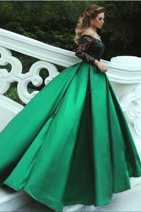 Charming Off The Shoulder A-Line Prom Dresses,Long Prom Dresses,Cheap Prom Dresses, Evening Dress Prom Gowns, Formal Women Dress,Prom Dress,2018 Green Long Evening Dresses