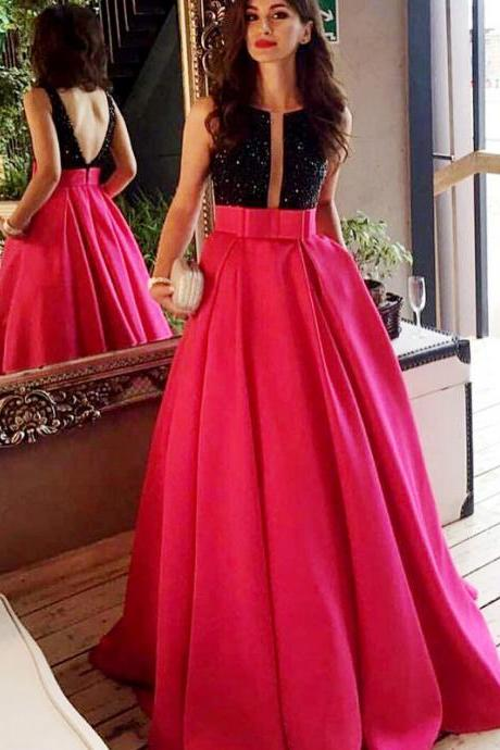 Women's A line Black and Fuchsia Long Prom Dresses Open Back Elegant Formal Evening Gown Cheap Junior Senior Party Dress Custom Plus size 2018 ,Custom Made Formal Prom Gowns