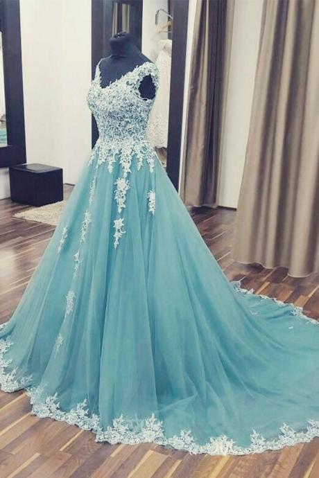 Appliques Tulle Prom Dress, Sexy Sleeveless Prom Dresses, Long Ball Gowns, Formal Evening Dress,2018 Arabic Evening Dress , Women Party Gowns
