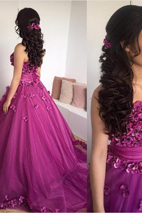 Sexy Sleeveless Prom Dress, Strapless Flower Tulle Ball Gown Prom Dresses, Formal Evening Dress,2018 New Arrival Hand Made Flower Formal Evening Dresses