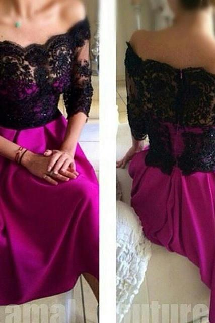 Half Sleeve Lace Appliques Soft Satin Prom Dresses Off Shoulder Floor Length Party Dresses Custom Made, 2018 Black Lace Evening Dresses,Custom Made Wedding Party Dresses