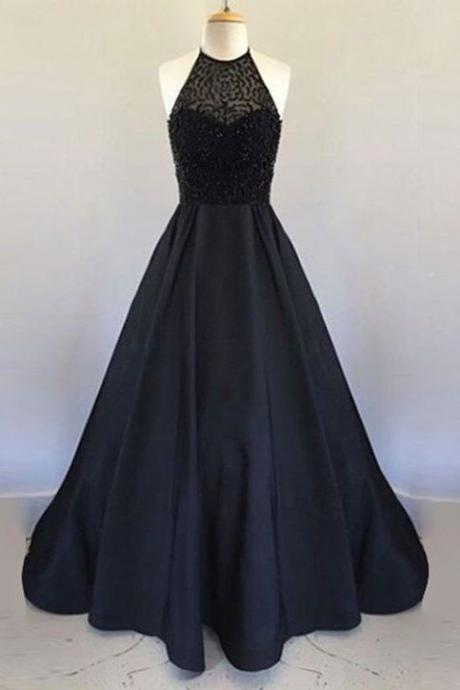 Long Black Satin Prom Dresses Halter Neck Beading Women Party Dresses,2018 Sexy Halter Beaded Evening Dresses, A LIME Prom Goiwns , Plus Size Women Dresses