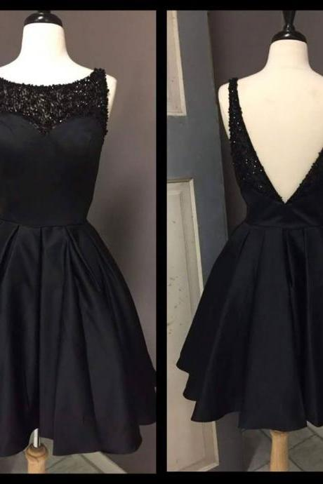 Open Back Satin Prom Dresses Scoop Neck Short Black Women Party Dresses 2018 Sexy Backless Mini Homecoming Dress Plus Size