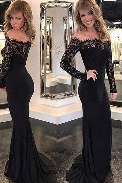 Off shoulder Black Jersey and Lace Long Sleeves Mermaid Prom Dresses2018 Plus Size Lace Evening Dresses Custom Made Women Party Gowns