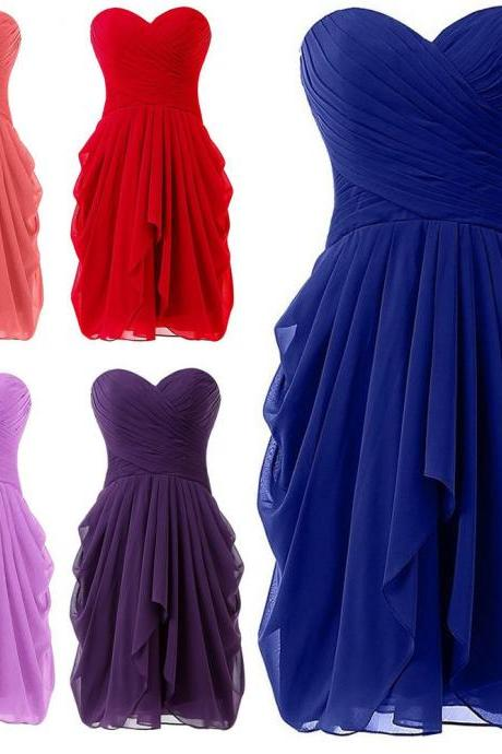 2018 New Arrival Short Prom Dresses Red Chiffon Ruffle Mini Bridesmaid Dress ,2018 Women Party Gowns , Plus Size Summer Gowns