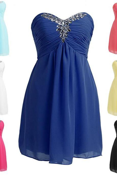 2018 New Arrival Royal Blue Chiffon Bridesmaid Dress Short Custom Made Mini Prom Dress Plus Size Wedding Party Gowns ,Girls Cocktail Dresses