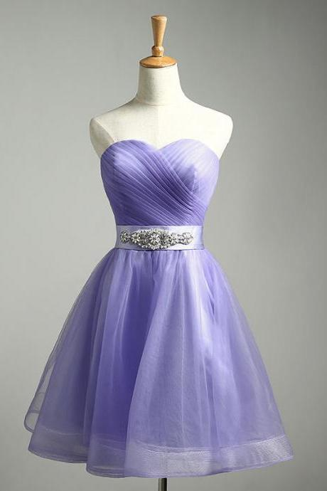 2018 New Arrival Lavender Tulle Homecoming Dresses Plus Size Sweet Cocktail Dresses Belt With Beaded Custom Made Graduation Gowns