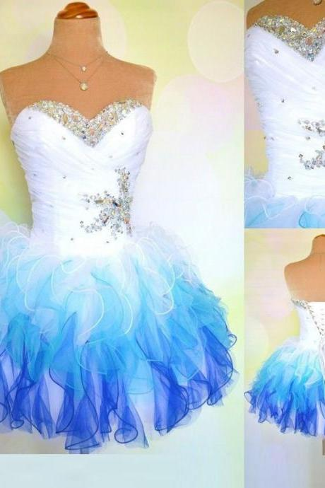 2018 Plus Size Crystal Beaded Short Prom Dresses White And Blue Tulle Mini Homecoming Dresses Custom Made Graduation Gowns