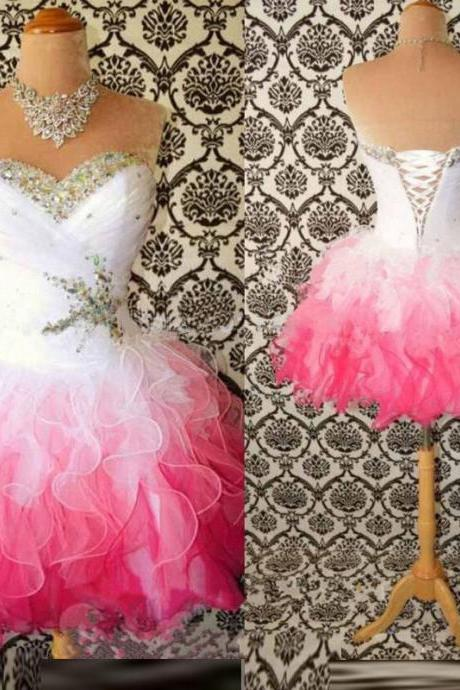 2018 Plus Size Crystal Beaded Short Prom Dresses White And Pink Tulle Mini Homecoming Dresses Custom Made Graduation Gowns
