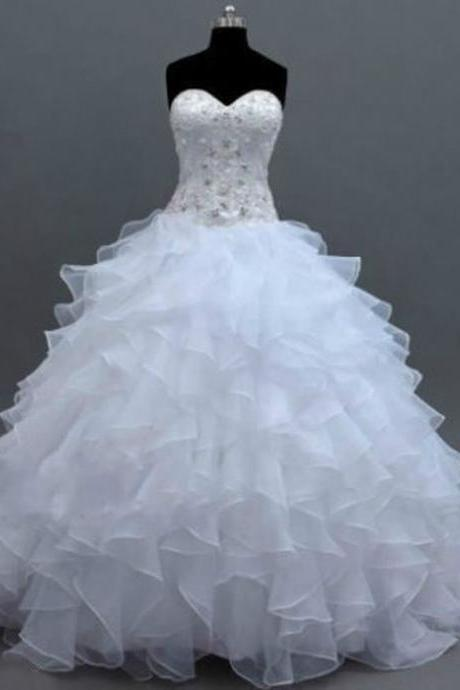 2018 New Arrival White Beaded Wedding Dresses Off Shoulder China Wedding Gowns Skirts Tiers Bridal Gowns Ruffle Bride ,Plus Size Wedding Gowns ,Pricess Weddings