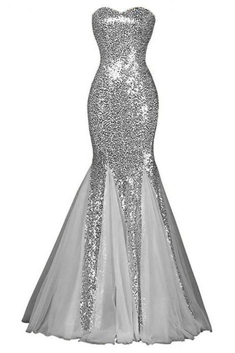 New Arrival Sequines Mermaid Bridesmaid Dresses 2018 Stunning Sweetheart Girls Wedding Party Gowns Plus Size Arabic Women Gowns ,2018 Long Prom Dresses, Lace Up Prom Gowns