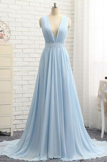 2018 Sky Blue Prom Dresses, Formal Evening Dress,Women Party Gowns ,Sexy V-Neck Prom Gowns , Elegant A Line Evening Party Gowns , Wedding Party Dresses ,Chiffon Prom Dress, Simple Party Gowns