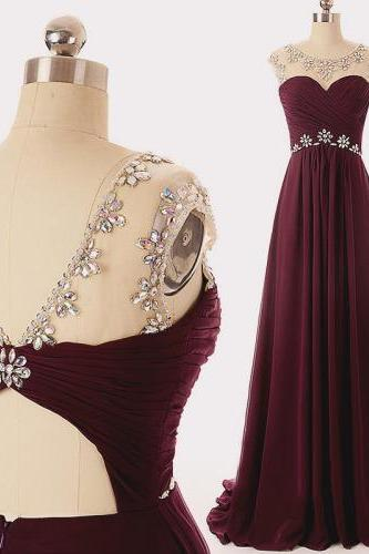 Lovely High Quality Maroon Long Chiffon Beaded Prom Dresses 2018, Prom Gowns, Evening Dresses Long ,Plus Size Formal Women Gowns