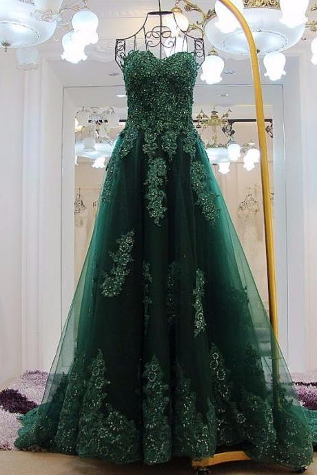 Elegant Green Appliques Long Prom Dresses Sexy Sweetheart Backless A Line Court Train Pageant Party Dress Vestidos De Festa,2018 wedding party desses