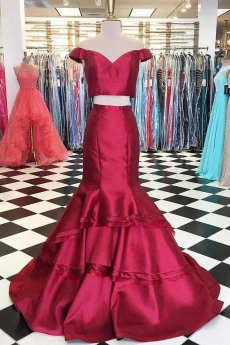 Two Piece Off the Shoulder Mermaid Long Prom Dress Evening Dress 2018 New Arrival Sweet Formal Women Gowns ,Custom Made Red Evening Gowns