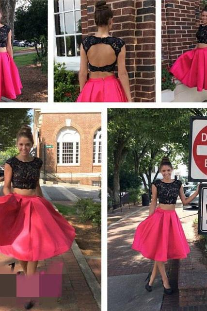 Sparkly Two Pieces Short Homecoming Dresses Satin Mini Cocktail Dress 2018 Sexy Backless Prom Dress,Short Cocktail Gowns , Little Girls Party Gowns ,Black Lace Cocktail Dress